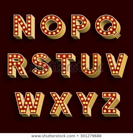 Letter Z lamp glowing font. Vintage light bulb alphabet. Retro A Stock photo © popaukropa