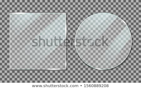 transparent round circle vector realistic illustration glass plate mock up or plastic banner isola stock photo © pikepicture