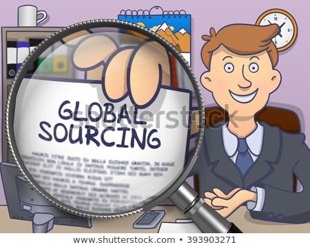 Global Sourcing through Magnifier. Doodle Style. Stock photo © tashatuvango