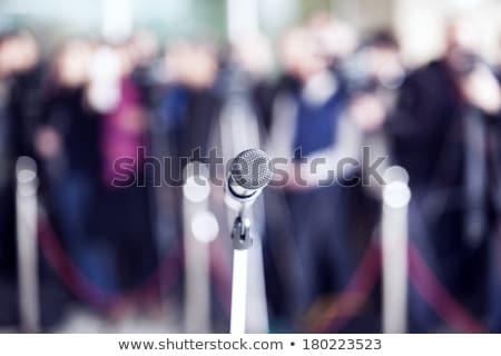 Mikrofon odak bulanık grup insanlar izleyici haber Stok fotoğraf © wellphoto