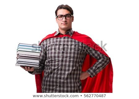 szuperhős · diák · könyvek · tanul · vizsgák · számítógép - stock fotó © elnur