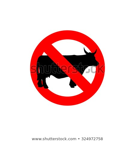 Stop cow. Prohibited cattle. Frozen farm animal. Red forbidden s Stock photo © popaukropa