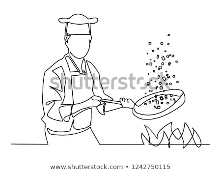 Stock photo: Cartoon chef in kitchen vector isolated on white background. Coo