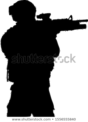 Military Soldier Kneeling Silhouette Vector Illustration Stock photo © jeff_hobrath