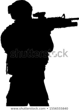 Military Soldier Kneeling Silhouette Vector Illustration stock photo © jeff_hobrath