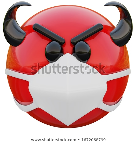 Red Devil Cartoon Emoji Face Character With Evil Expressions Holding A Trident Stock photo © hittoon