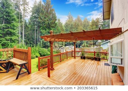 Na zewnątrz domu pokład okno lampy sofa Zdjęcia stock © IS2
