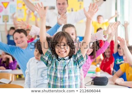 Stockfoto: Choolkinderen · En · Hun · Leraar · In · Een · Primaire · Klasse