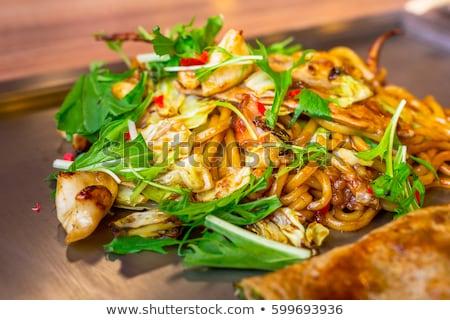 Yakisoba teppanyaki, japanese traditional hot plate food Stock photo © daboost