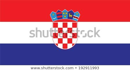 Horvátország zászló fehér háttér szövet piros Stock fotó © butenkow