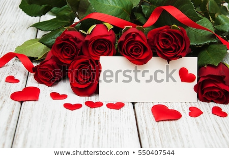 bouquet of roses with message card stock photo © essl