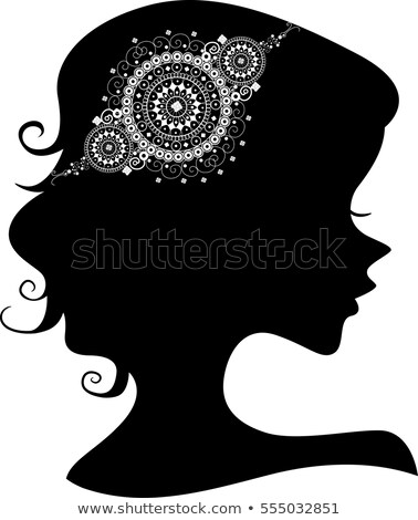 Silhouette Girl Doily Headdress Stock photo © lenm