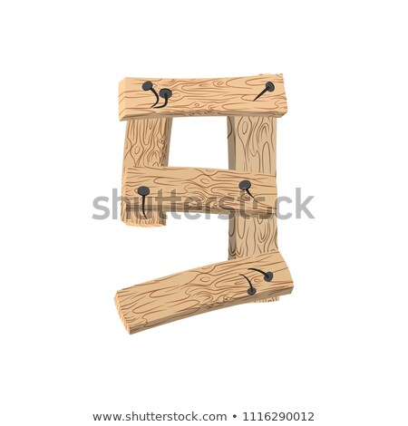 Number 9 wood board font. Nine symbol plank and nails alphabet.  Stock photo © popaukropa