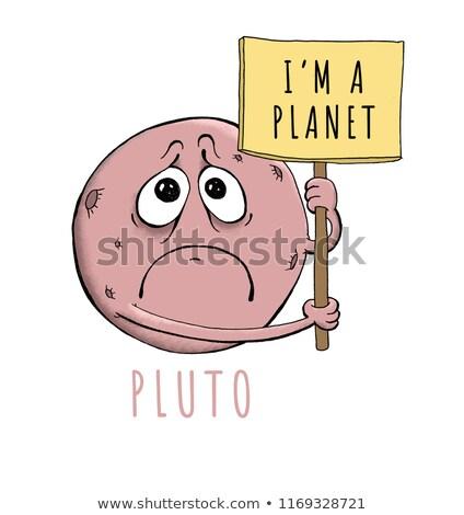 печально Cartoon Плутон иллюстрация глядя льда Сток-фото © cthoman