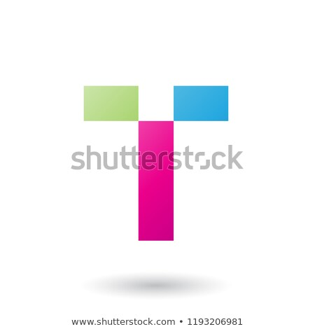 Magenta Letter T with Rectangular Shapes Vector Illustration Stock photo © cidepix