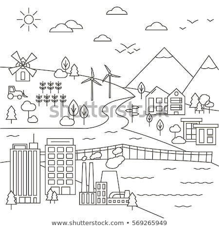 factory   modern thin line design style vector illustration stock photo © decorwithme