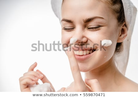 Acne facial care teenager woman apply cream Stock photo © CandyboxPhoto