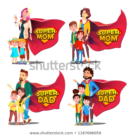Super Dad, Mom Vector. Mother And Father Like Super Hero With Children. Shield Badge. Isolated Flat  Stock photo © pikepicture