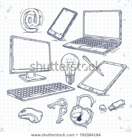 okostelefon · technológia · kézzel · rajzolt · skicc · firka · ikon · gyűjtemény - stock fotó © rastudio