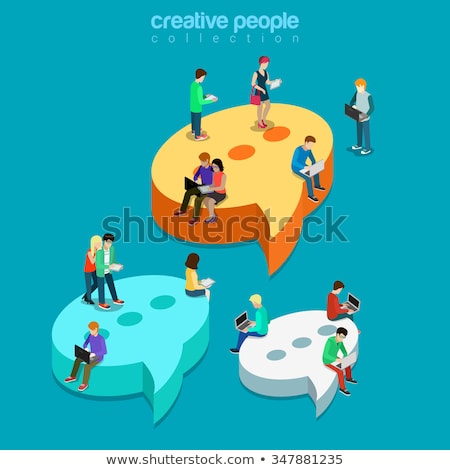 online chatting flat isometric vector conceptual illustration stock photo © tarikvision