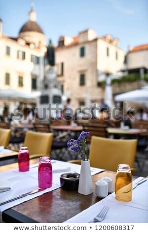 open cafe in old town of dubrovnik in croatia stock photo © bezikus