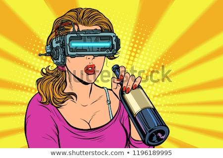 Gläser Frau trinken Wein Flasche Einsamkeit Stock foto © studiostoks