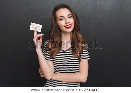 beautiful woman with red lipstick and credit card Stock photo © dolgachov