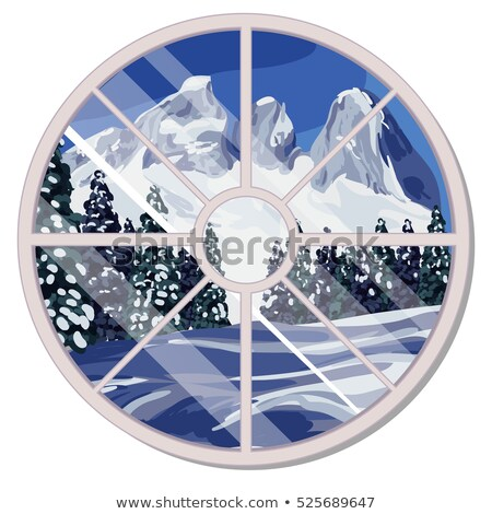 The round window overlooking the snow-covered mountain slope and coniferous forest in winter isolate Stock photo © Lady-Luck