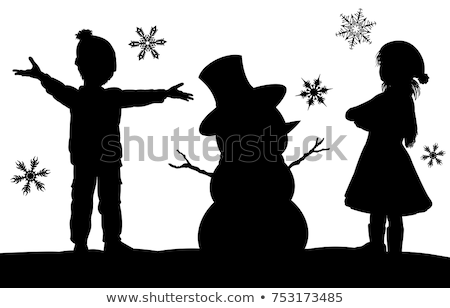 child boy in santa hat playing snowballs vector illustration stock photo © pikepicture