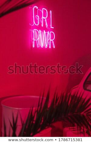 Ragazza potere neon banner design moda Foto d'archivio © Anna_leni