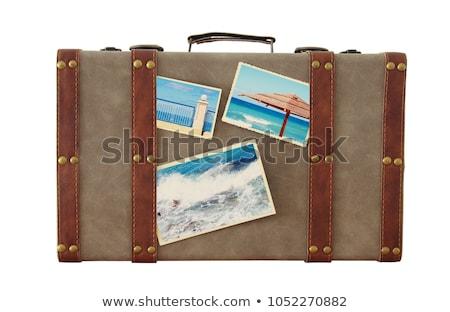 klasszikus · bőrönd · funky · matricák · izolált · fehér - stock fotó © bluering