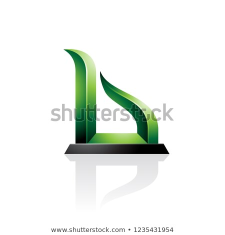 green and black bow like embossed letter b vector illustration stock photo © cidepix