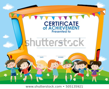 Bizonyítvány díj gyerekek iskolabusz illusztráció gyerekek Stock fotó © colematt