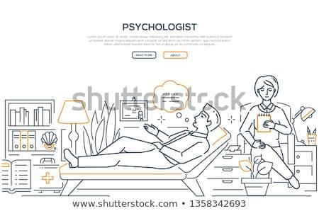 Psychologist - modern line design style web banner Stock photo © Decorwithme