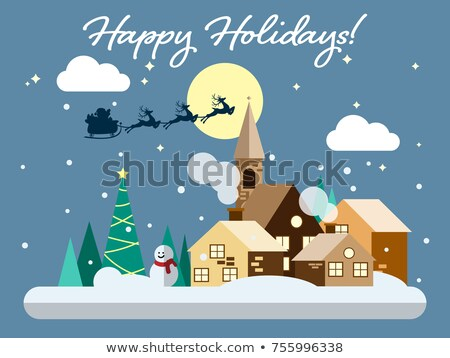 Christmas snowfall background. Snow winter landscape. Merry Chri Stock photo © Terriana