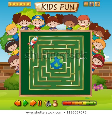 Maze game on chalkboard template Stock photo © colematt