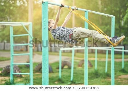 Gyerek fiú fitnessz húzás illusztráció kicsi Stock fotó © lenm