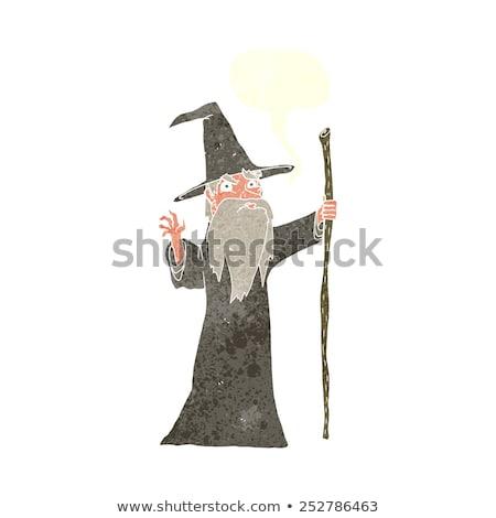 rajz · boldog · szakállas · férfi · ötlet · szövegbuborék - stock fotó © cthoman