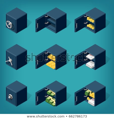 Isometric safe. Set of isometric safe boxes. Safe boxe filled with gold, coins, money. stock photo © AisberG