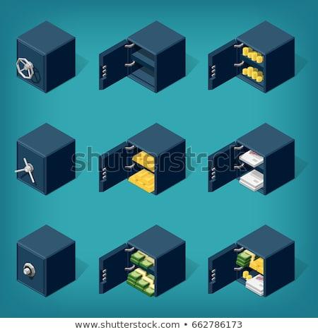 Isométrica seguro conjunto caixas moedas de ouro dinheiro Foto stock © AisberG