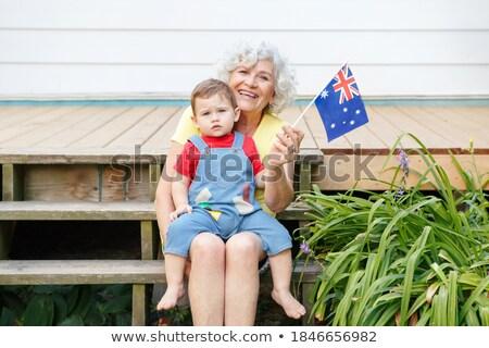 Australisch vrolijk vrouw vlag beren hoed Stockfoto © lovleah