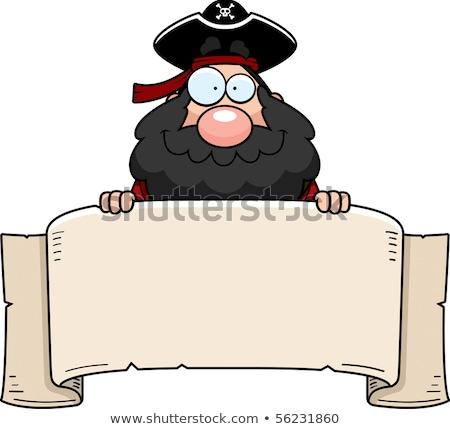 Cartoon pirate holding a sign Stock photo © bennerdesign