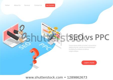 isometric flat vector landing page template of seo vs ppc stock photo © tarikvision