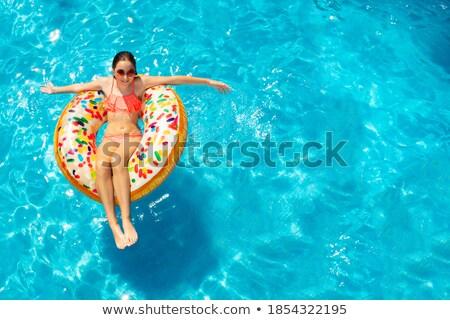 inflável · praia · colchão · isolado · branco · fundo - foto stock © dolgachov