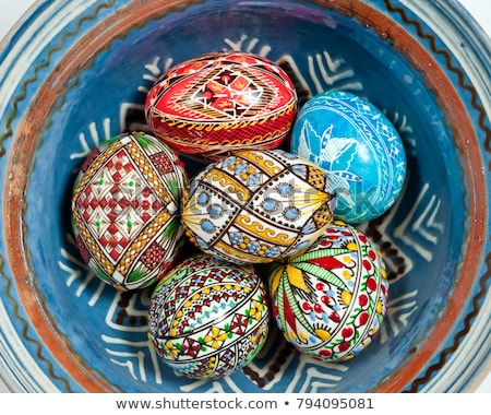 decorated Easter eggs in a ceramic bowl Stock photo © nito
