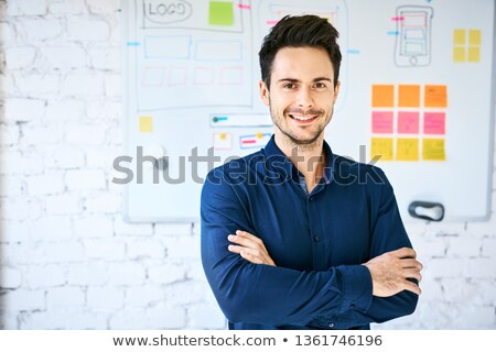 ハンサムな男 · 立って · ホワイトボード · 創造 · フローチャート · 幸せ - ストックフォト © elnur