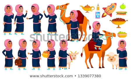 Arab, Muslim Girl Set Vector. Traditional Clothes. Camel, Sheep, Goat. For Web, Poster, Booklet Desi Stock photo © pikepicture