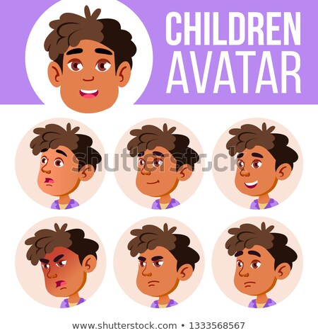 Arab, Muslim Boy Avatar Set Kid Vector. Kindergarten. Face Emotions. Preschool, Baby, Expression. Bi Stock photo © pikepicture