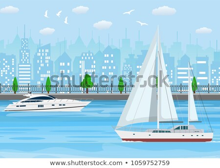 Sea Trip on Luxurious Yacht Promotional Posters Stock photo © robuart