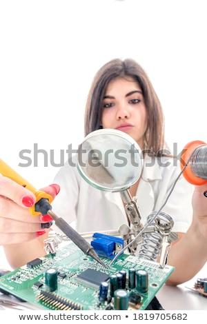 Női technikus forrasztás vasaló mérnök tech Stock fotó © AndreyPopov